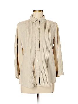 Liz Claiborne 3/4 Sleeve Button-Down Shirt Size L