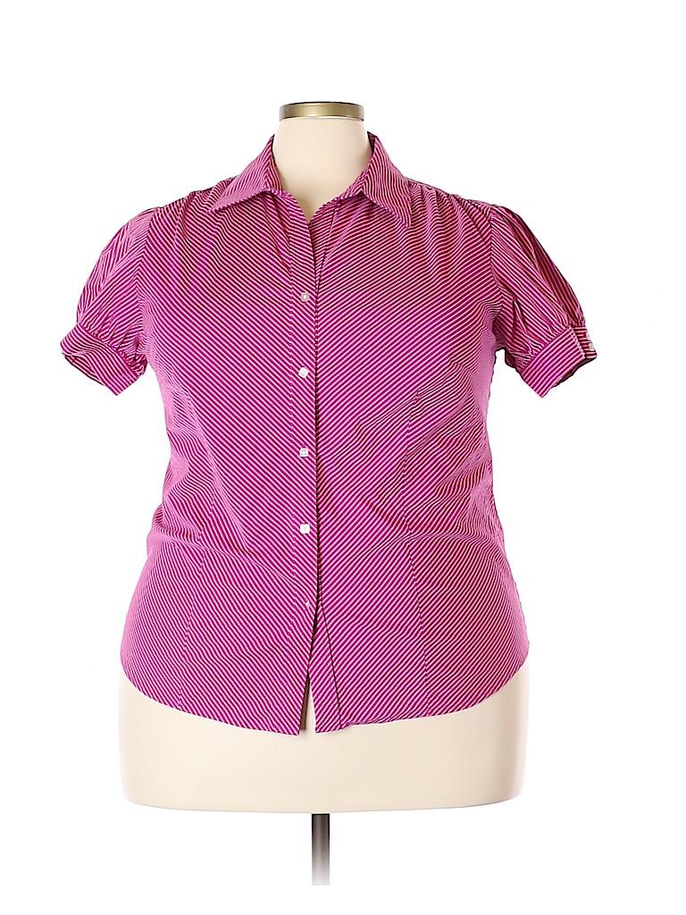 George Women Short Sleeve Button-Down Shirt Size 2X (Plus)