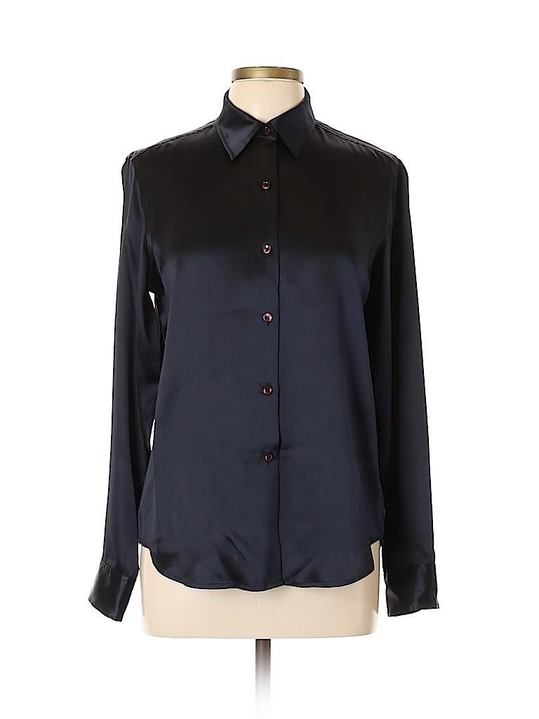 City DKNY Women Long Sleeve Silk Top Size 12