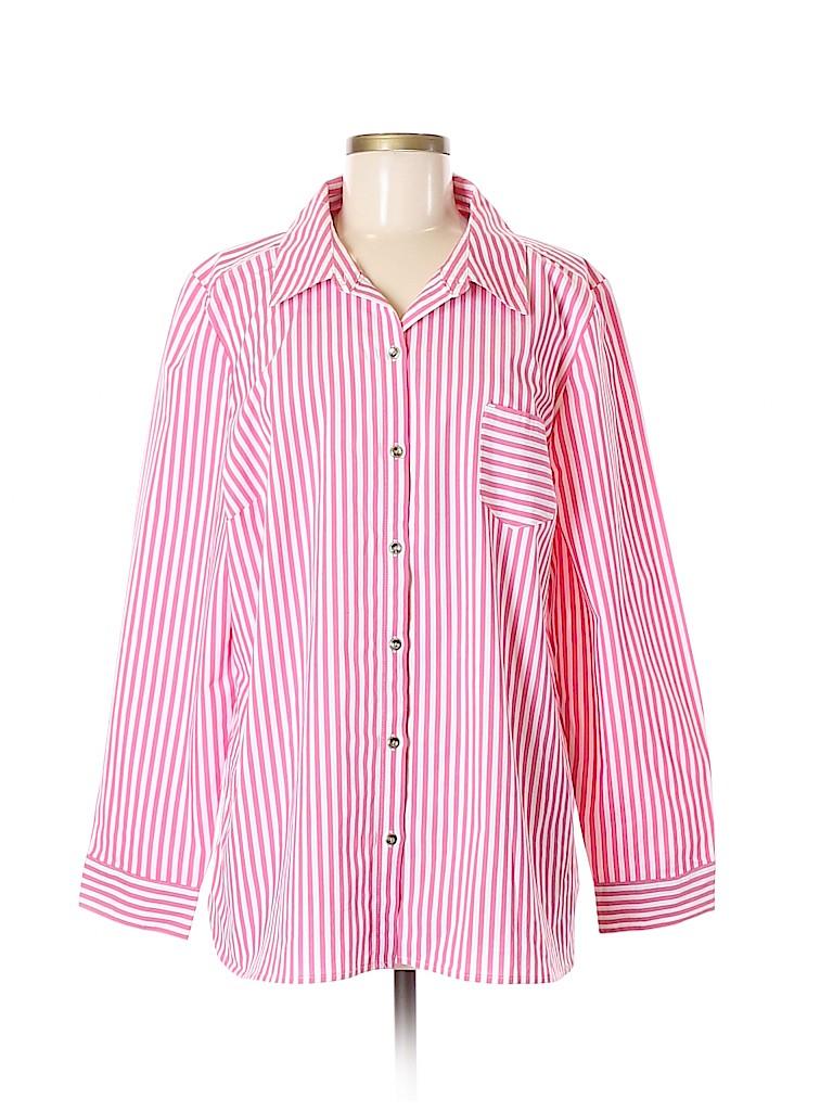 D&Co. Women Long Sleeve Button-Down Shirt Size XL