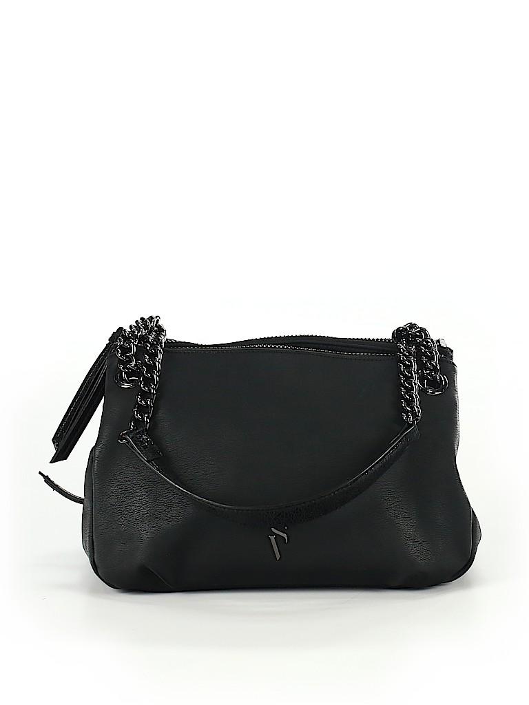 Simply Vera Vera Wang 100% Leather Solid Black Leather Shoulder Bag ... e885962a1af21