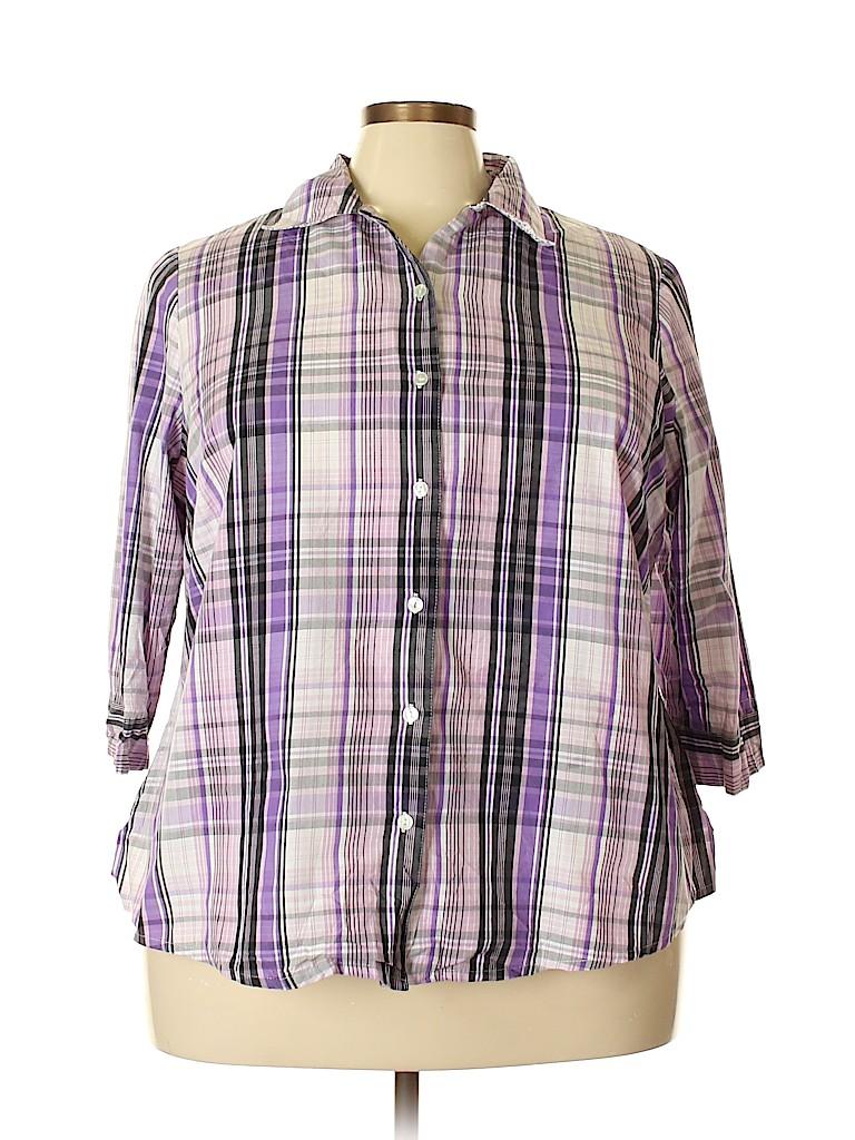 Kim Rogers Women 3/4 Sleeve Button-Down Shirt Size 22 (Plus)