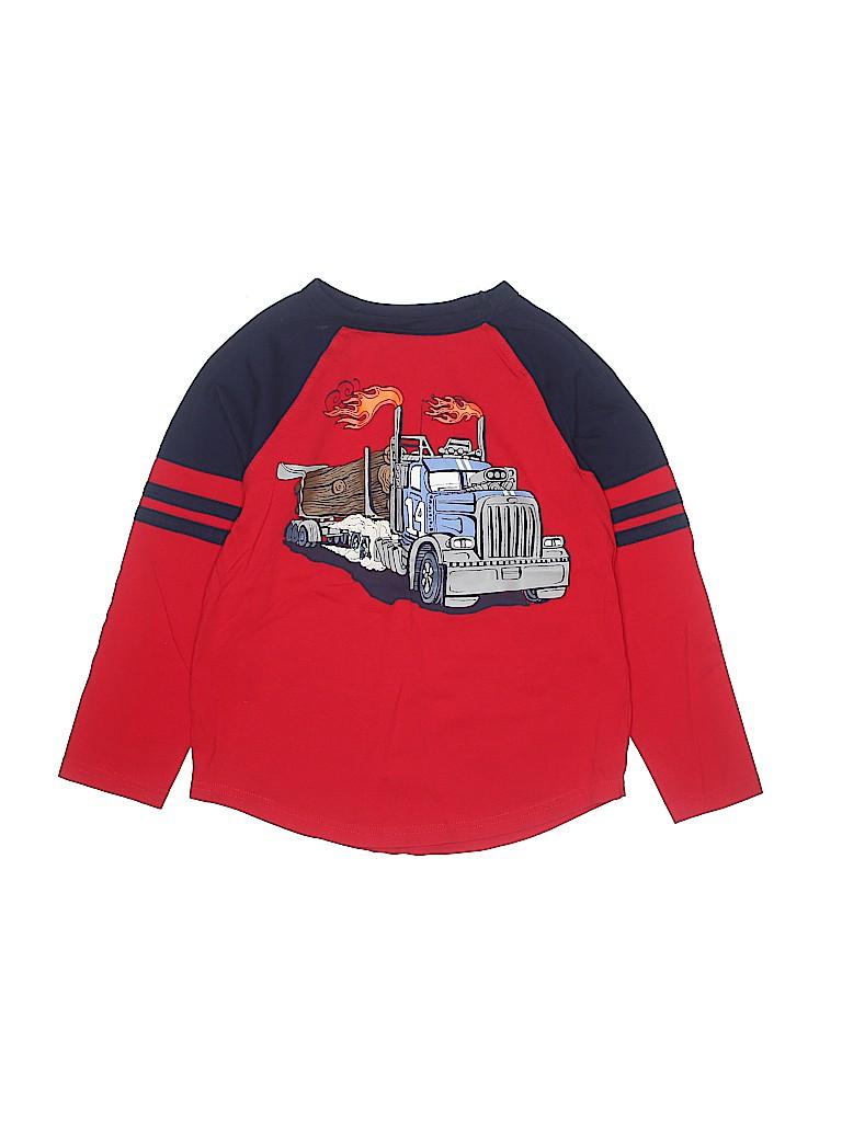 3cdfcab6d5 Gymboree 100% Cotton Stripes Graphic Red Long Sleeve T-Shirt Size 7 ...