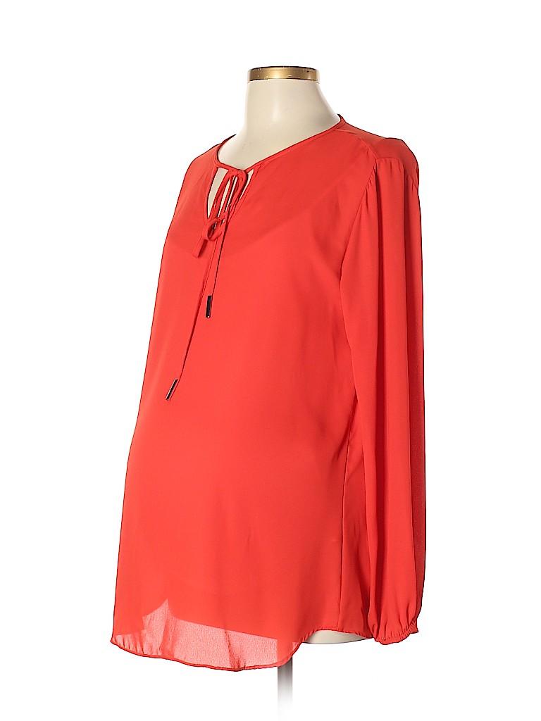 Olian Women Long Sleeve Blouse Size L (Maternity)
