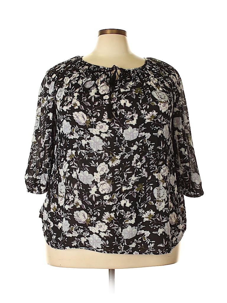 Faded Glory Women 3/4 Sleeve Blouse Size 1X (Plus)