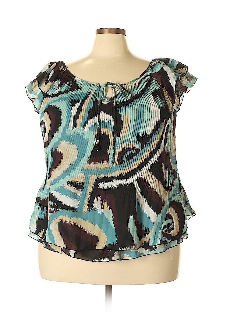 Signature by Larry Levine Women Short Sleeve Blouse Size 2X (Plus)