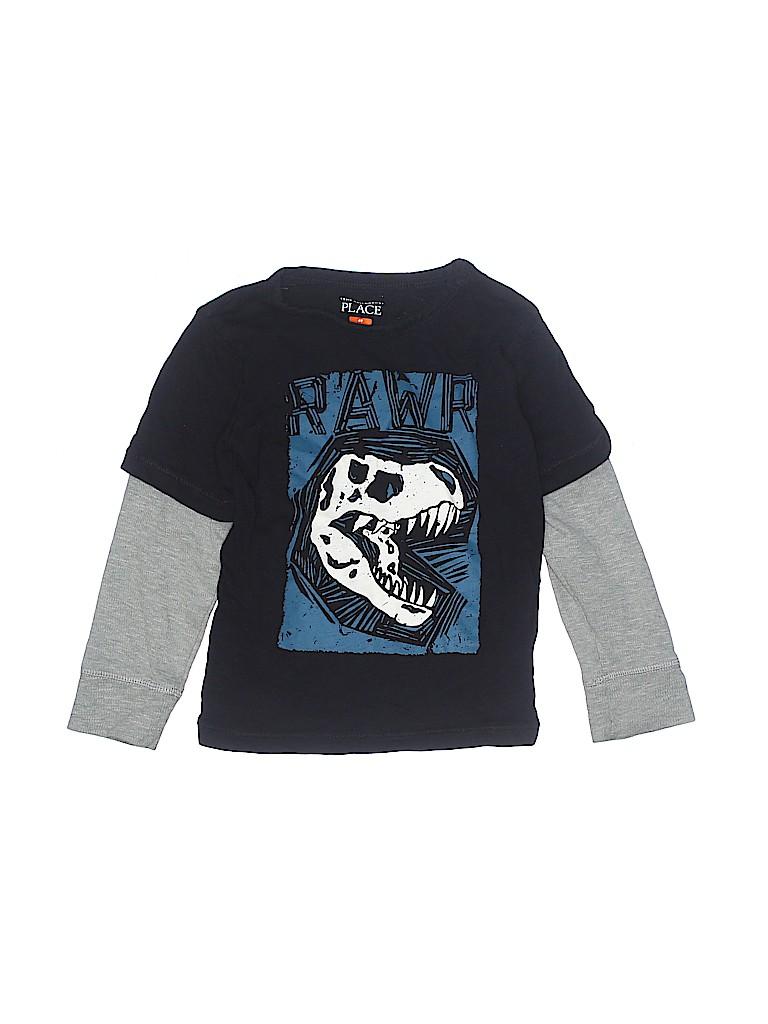 d089f2953 The Children's Place 100% Cotton Graphic Black Long Sleeve T-Shirt ...