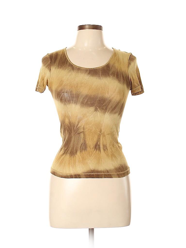 Piazza Sempione Women Short Sleeve Silk Top Size L