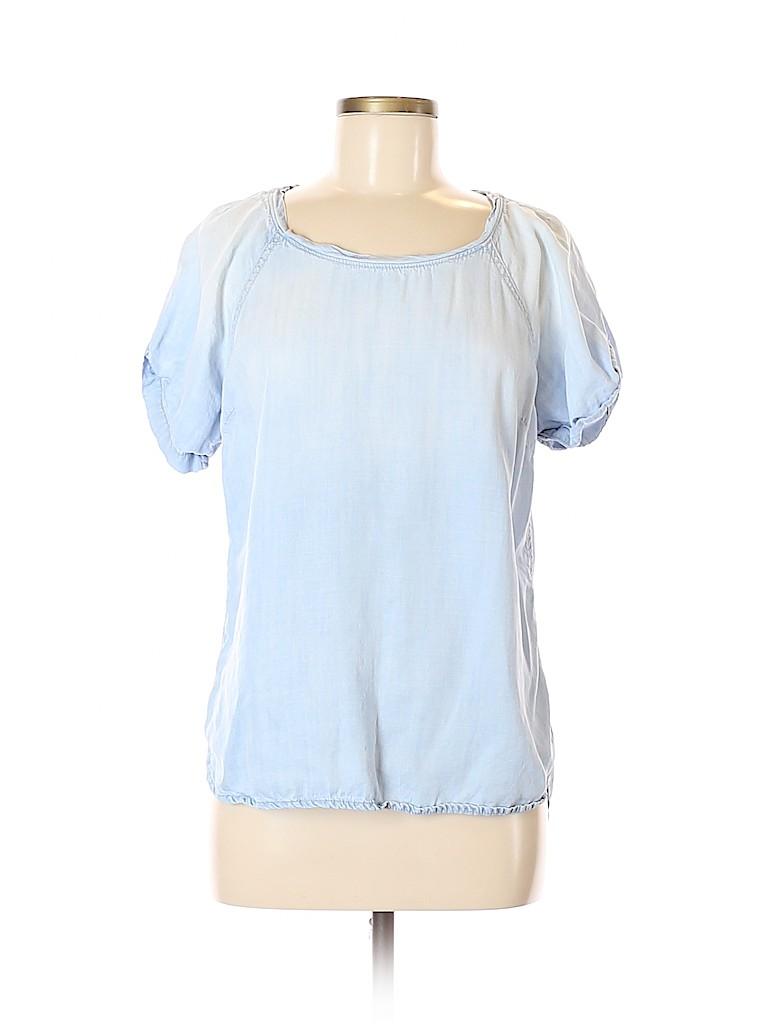 18e3865996703 Cloth   Stone 100% Tencel Chambray Light Blue Short Sleeve Blouse Size S -  66% off