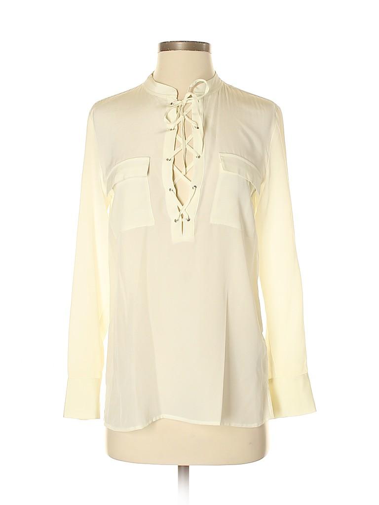 Madewell Women Long Sleeve Silk Top Size XXS