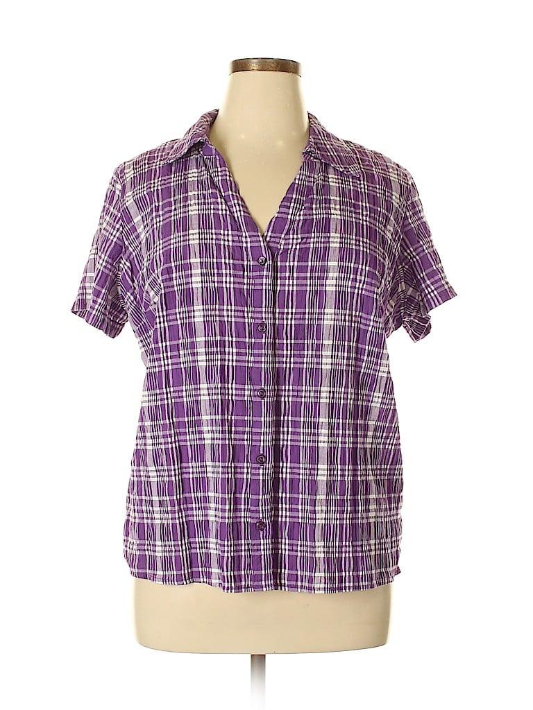 Essentials Women Short Sleeve Button-Down Shirt Size 1X (Plus)