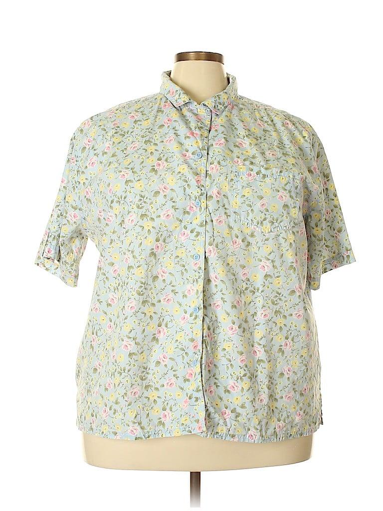 Bobbie Brooks Women Short Sleeve Button-Down Shirt Size 26 - 28 (Plus)