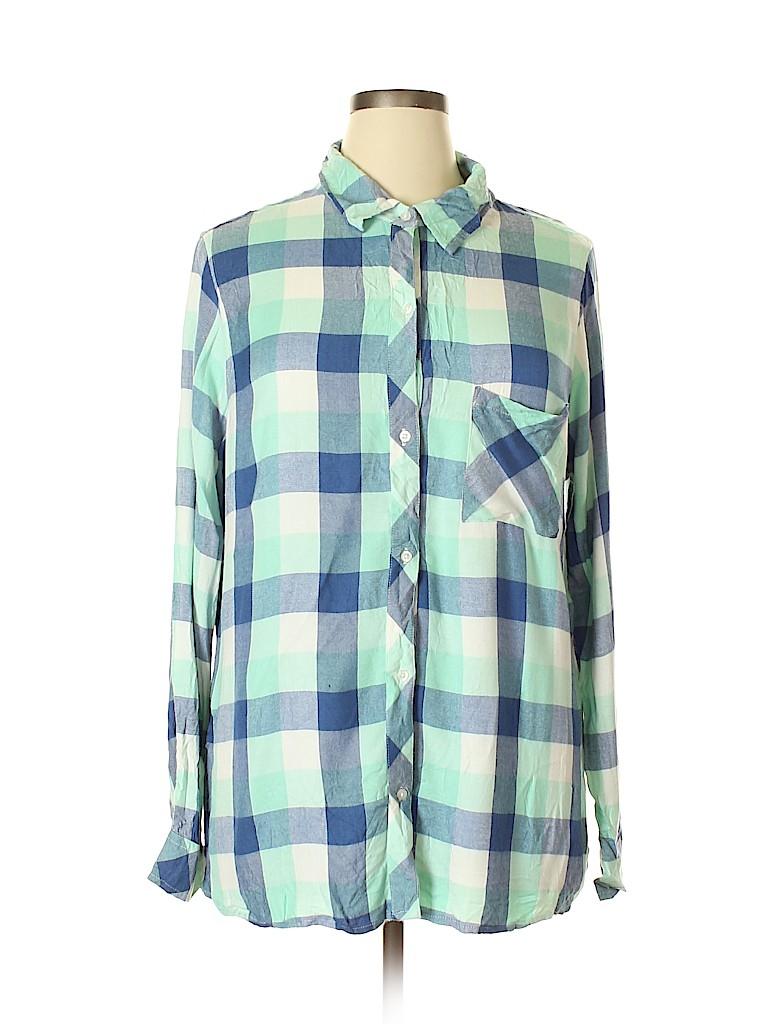 Falls Creek Women Long Sleeve Button-Down Shirt Size 1X (Plus)