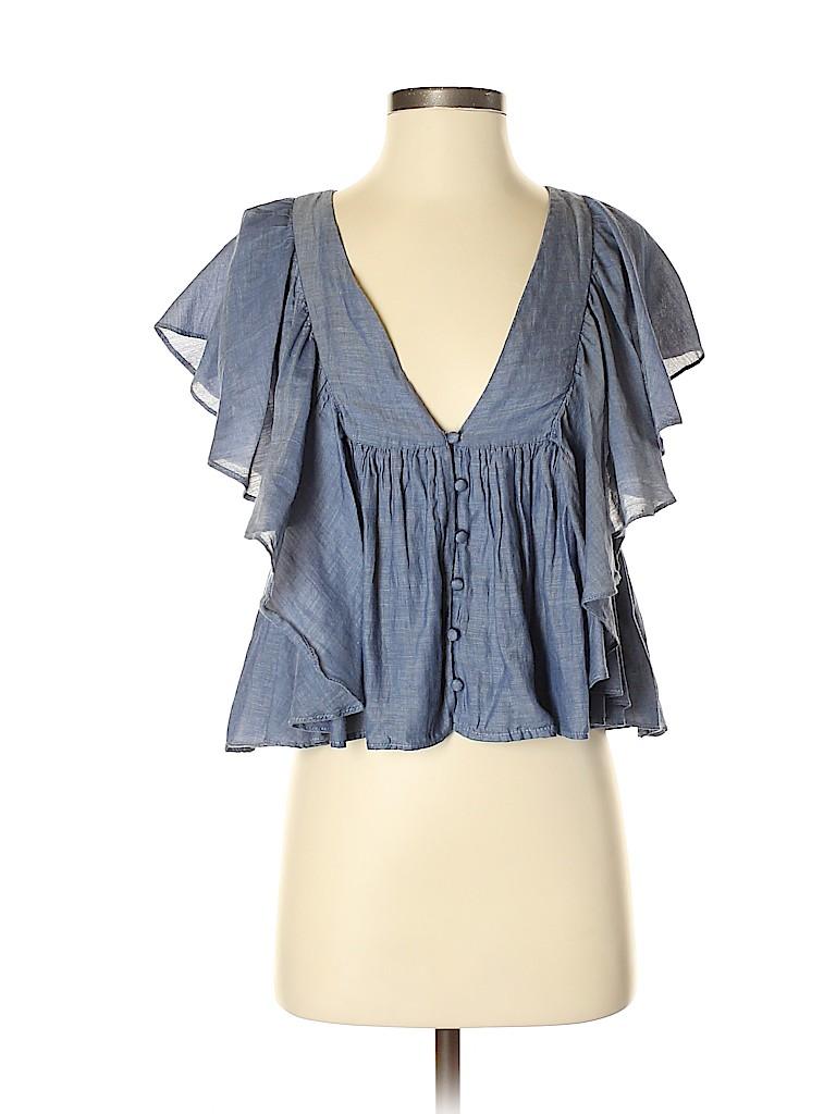 2441c3e48d4417 Trafaluc by Zara 100% Cotton Chambray Dark Blue Short Sleeve Blouse ...
