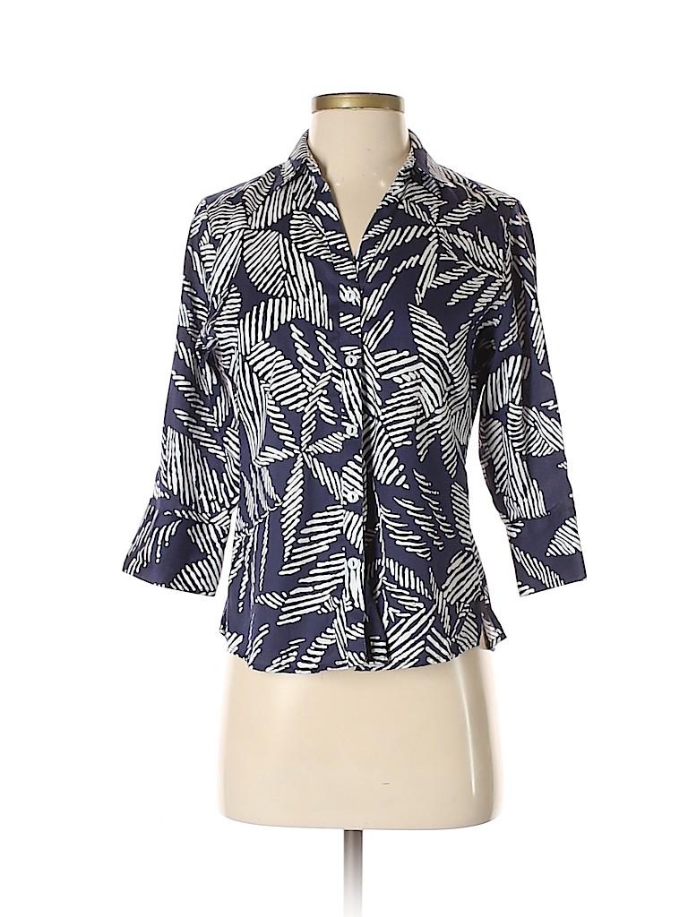 Foxcroft Women Long Sleeve Button-Down Shirt Size 4 (Petite)