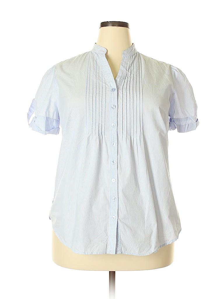 3b6ca905 DressBarn 100% Cotton Stripes Light Blue Short Sleeve Button-Down ...
