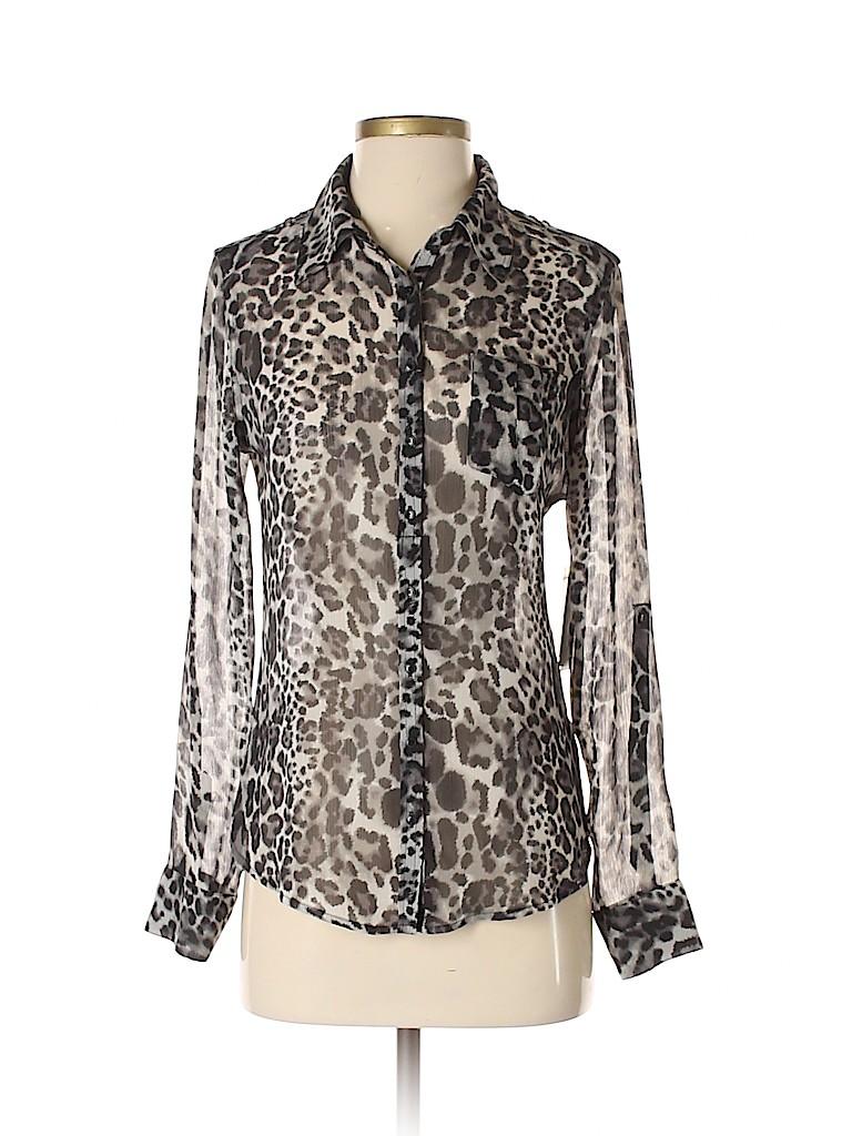 3c8e6be683e2cd Guess 100% Polyester Animal Print Black Long Sleeve Blouse Size S ...