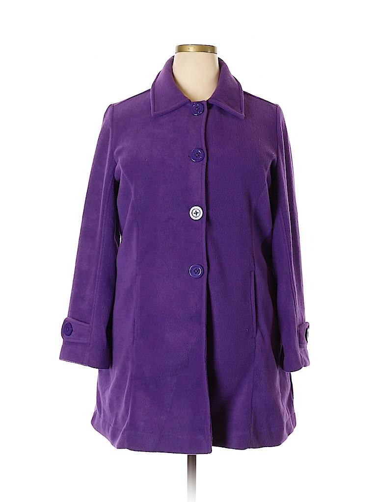 18920127c04 Roaman s 100% Polyester Solid Dark Purple Coat Size 14 (M) - 65% off ...