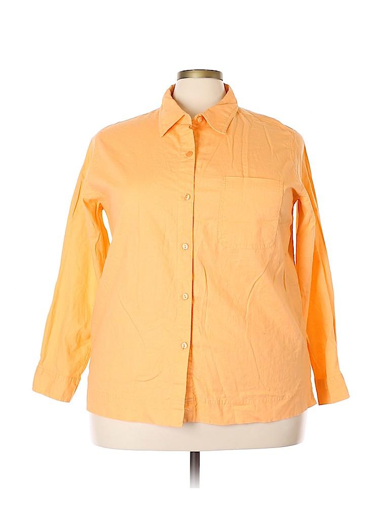 Cherokee Women Long Sleeve Button-Down Shirt Size 22 (Plus)