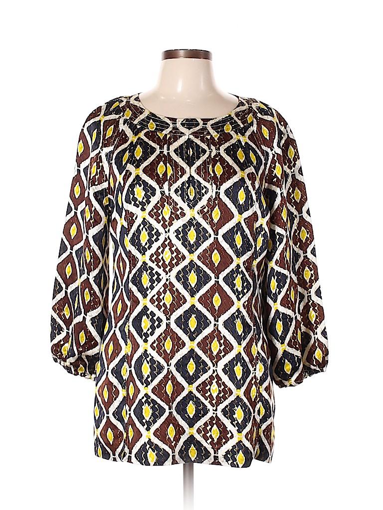 Tory Burch Women 3/4 Sleeve Silk Top Size 12