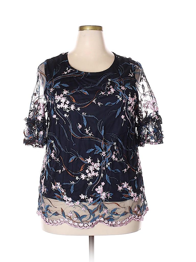 959b88917d71 NANETTE Nanette Lepore 100% Polyester Black 3/4 Sleeve Blouse Size ...