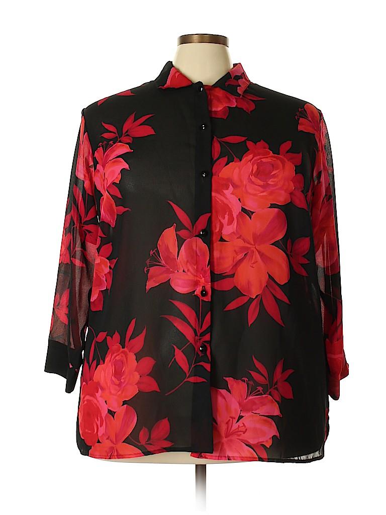 Positive Attitude Women 3/4 Sleeve Blouse Size 22 (Plus)