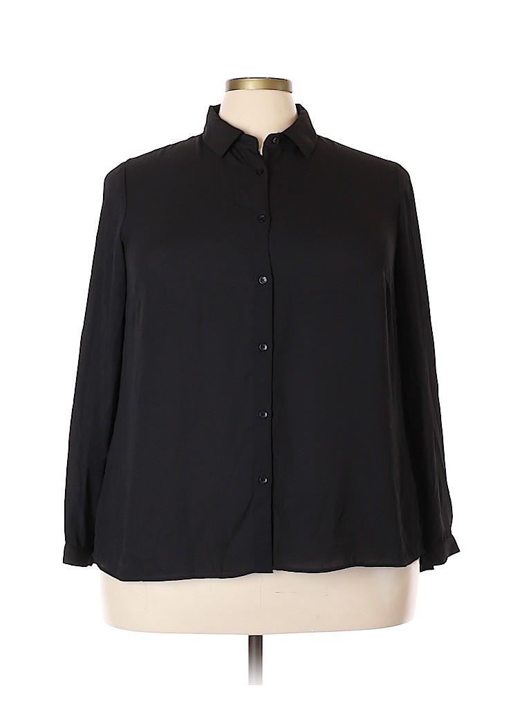 Premise Studio Women Long Sleeve Button-Down Shirt Size 0X (Plus)
