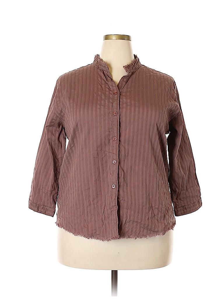Woolrich Women 3/4 Sleeve Button-Down Shirt Size XXL