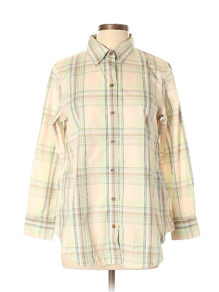 Pendleton Women Long Sleeve Button-Down Shirt Size 10 (Petite)