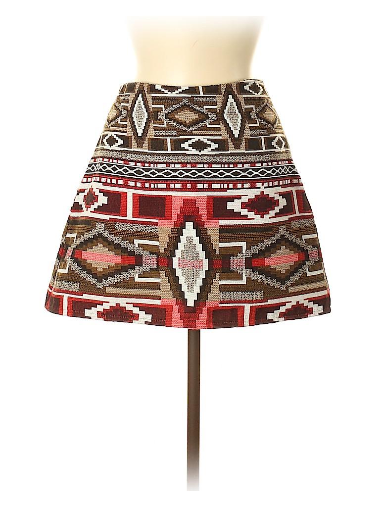 7101ebdb Zara Print Brown Denim Skirt Size M - 60% off | thredUP