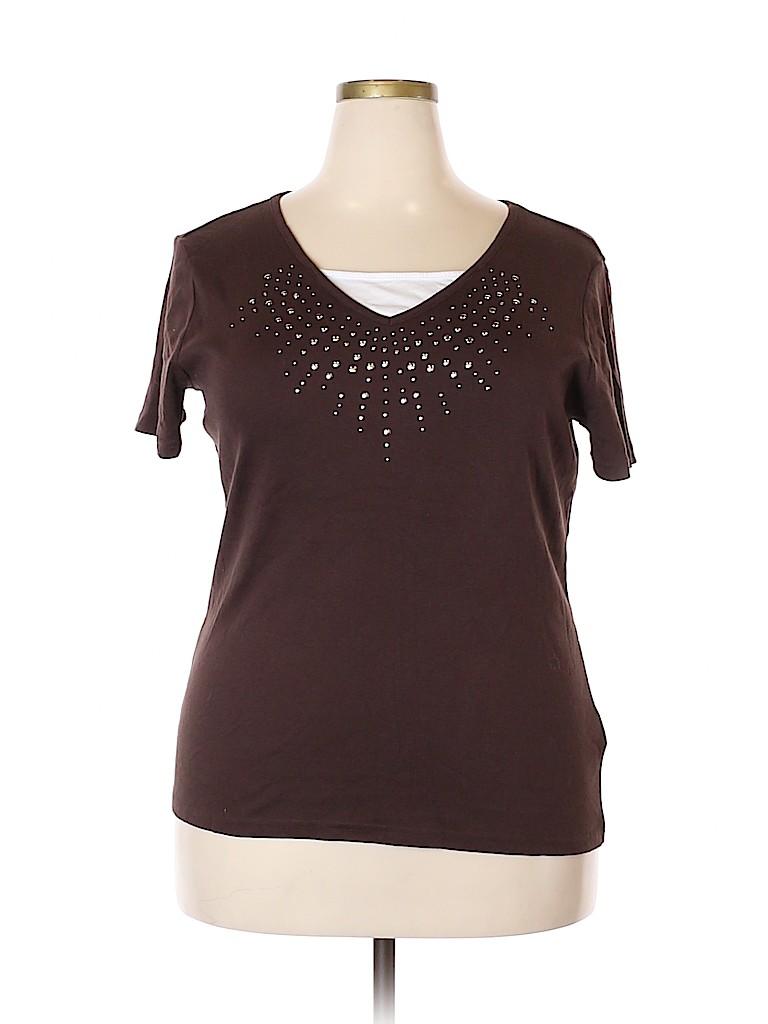 Basic Editions Women Short Sleeve T-Shirt Size XL