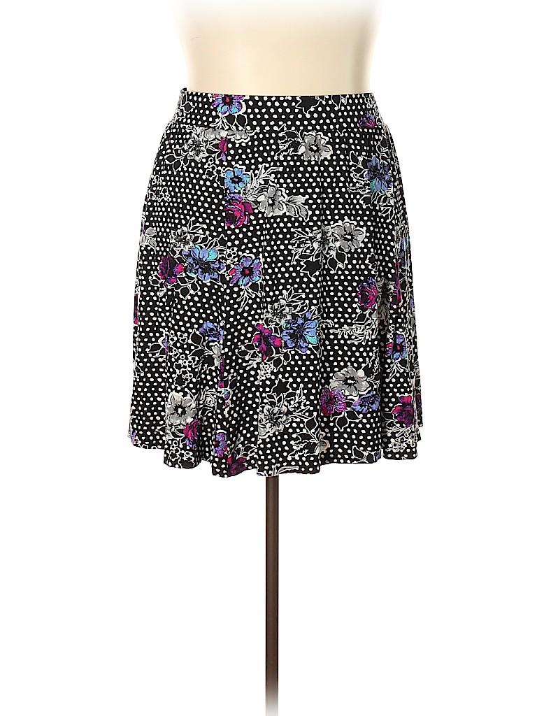 3111570bb Torrid Floral Polka Dots Black Casual Skirt Size 2X Plus (2) (Plus ...