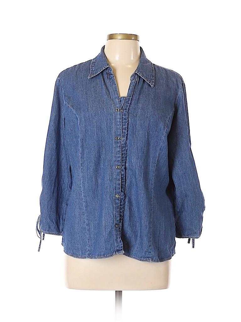 A.L.C. Women 3/4 Sleeve Button-Down Shirt Size XL