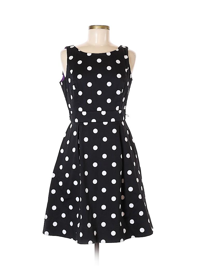 a0156e528d7c White House Black Market Polka Dots Black Casual Dress Size 8 - 63 ...