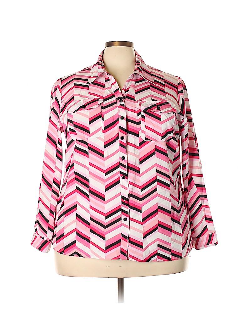 Kim Rogers Women Long Sleeve Button-Down Shirt Size 3X (Plus)