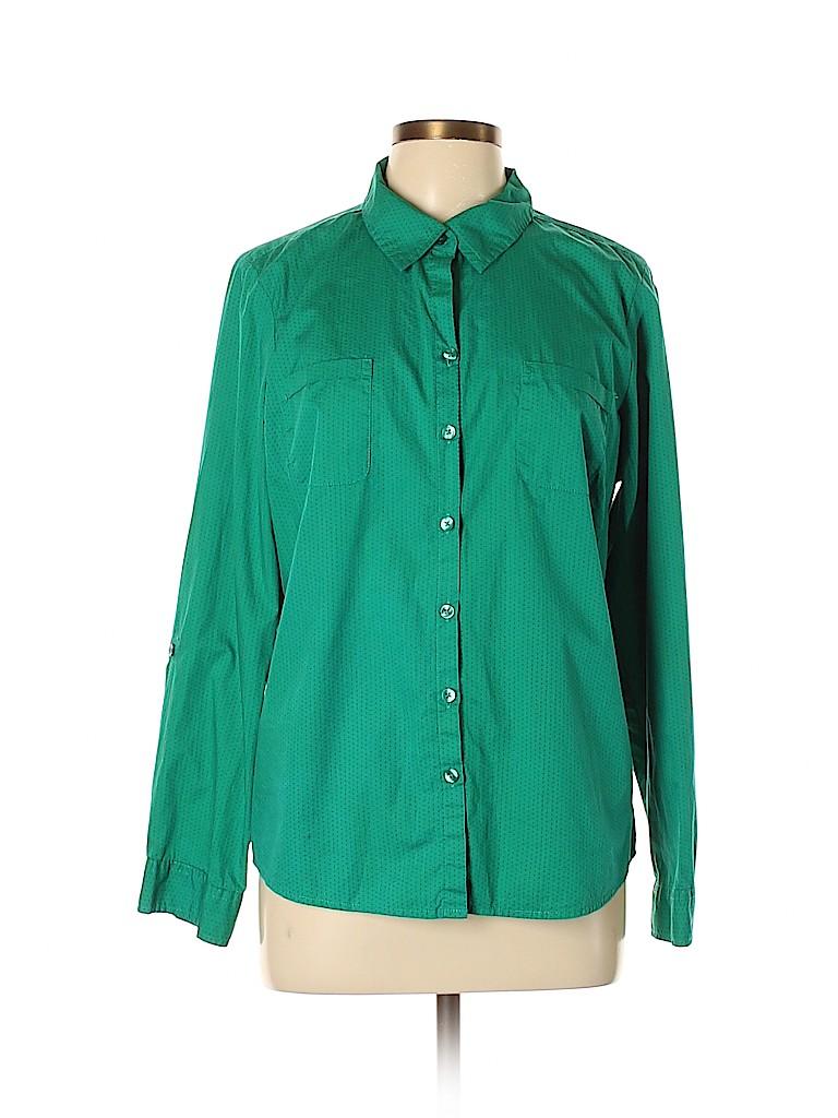 Croft & Barrow Women Long Sleeve Button-Down Shirt Size L