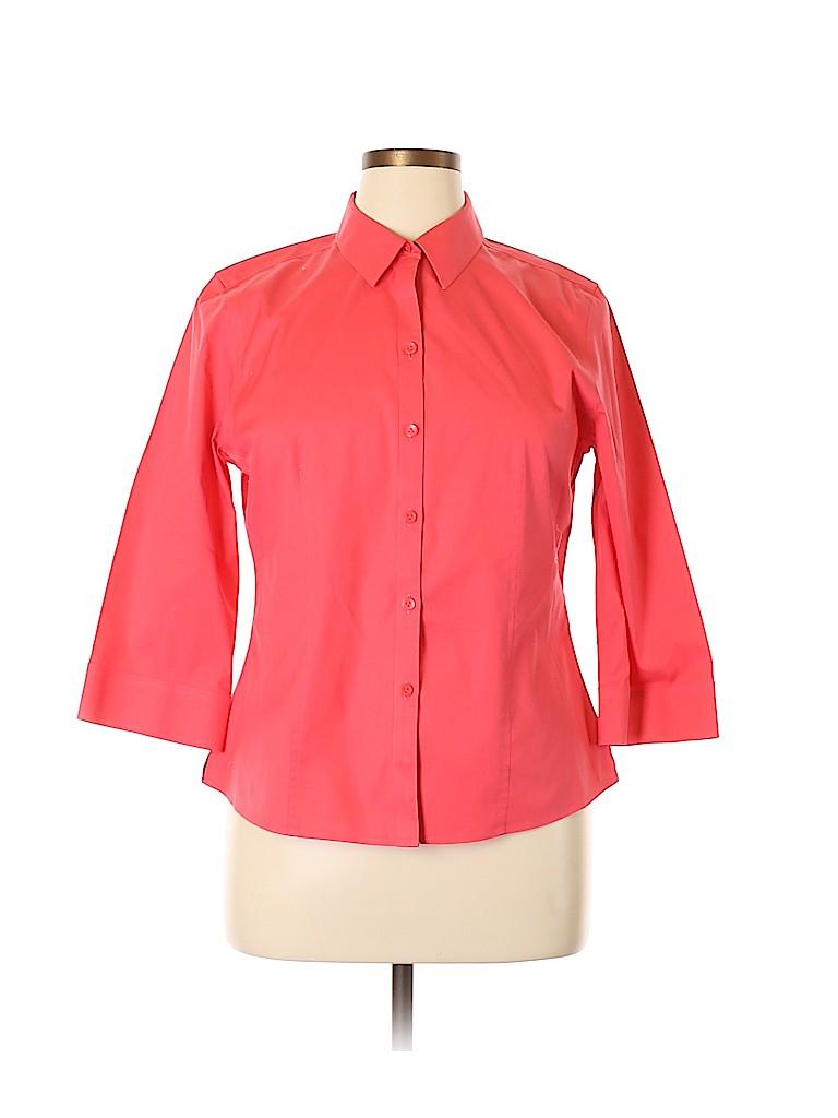 Foxcroft Women 3/4 Sleeve Button-Down Shirt Size 16 (Petite)