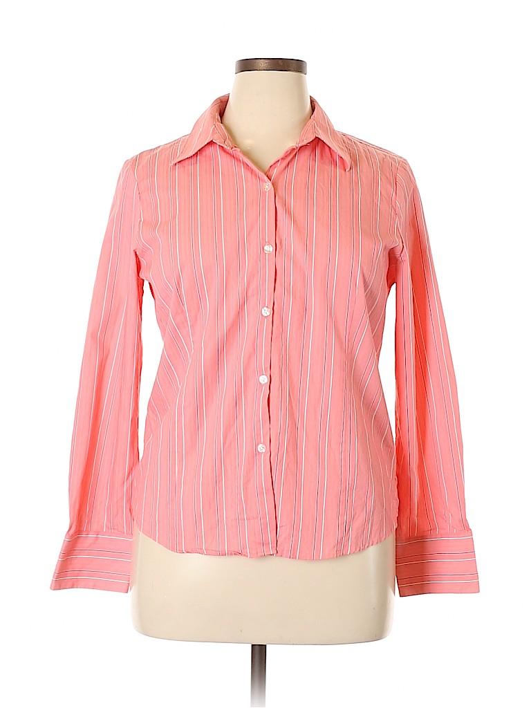 George Women Long Sleeve Button-Down Shirt Size XL