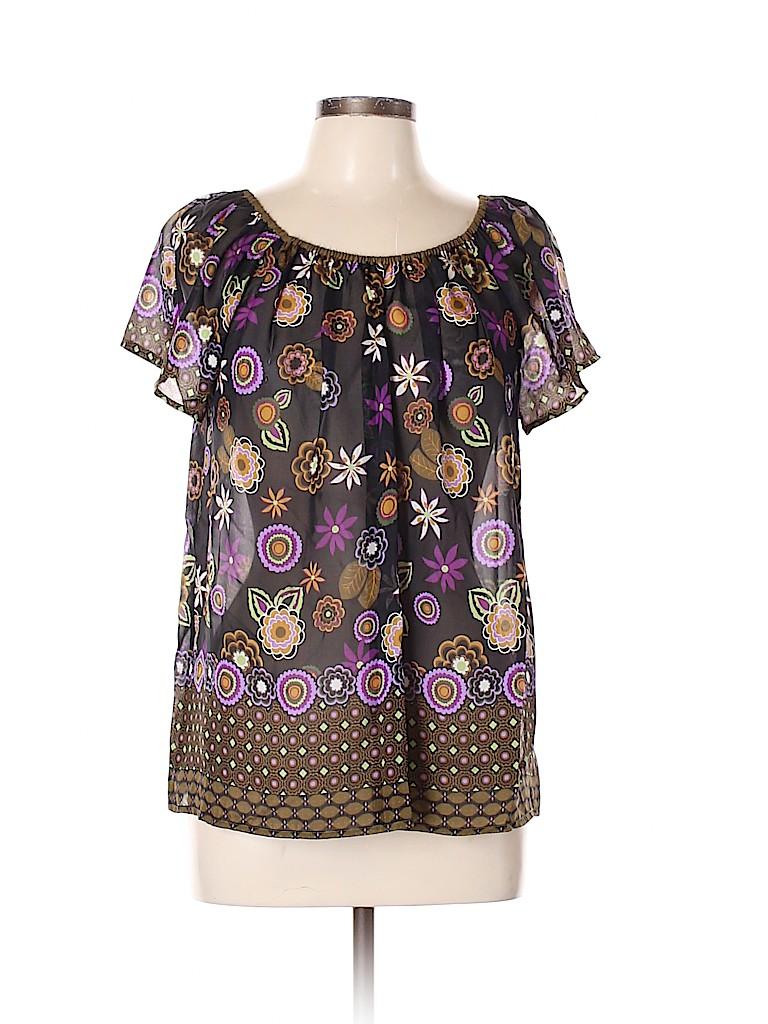 Fei Women Short Sleeve Silk Top Size L