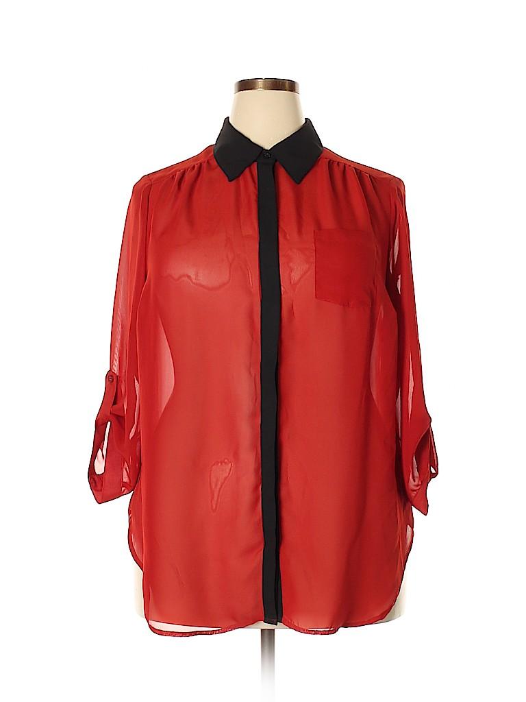 I.N. Studio Women Long Sleeve Blouse Size 1X (Plus)