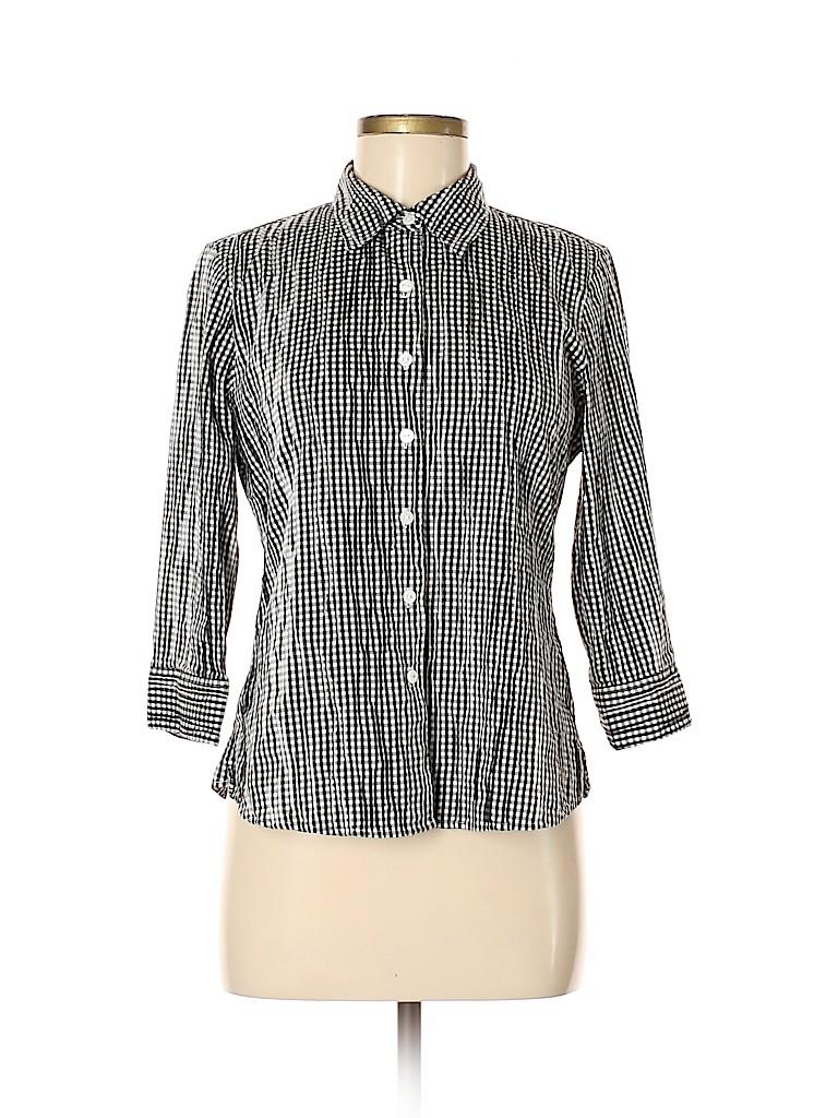 Foxcroft Women 3/4 Sleeve Button-Down Shirt Size 8 (Petite)