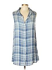 Side Stitch Sleeveless Button-down Shirt
