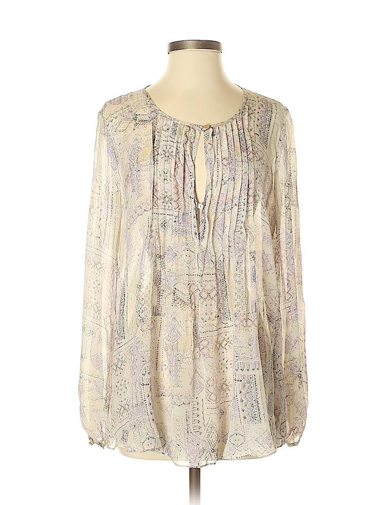 Calypso St. Barth Women Long Sleeve Silk Top Size S