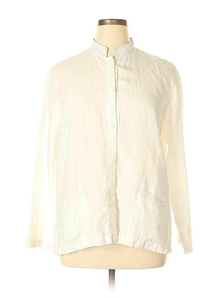 Eileen Fisher Women Long Sleeve Button-Down Shirt Size L