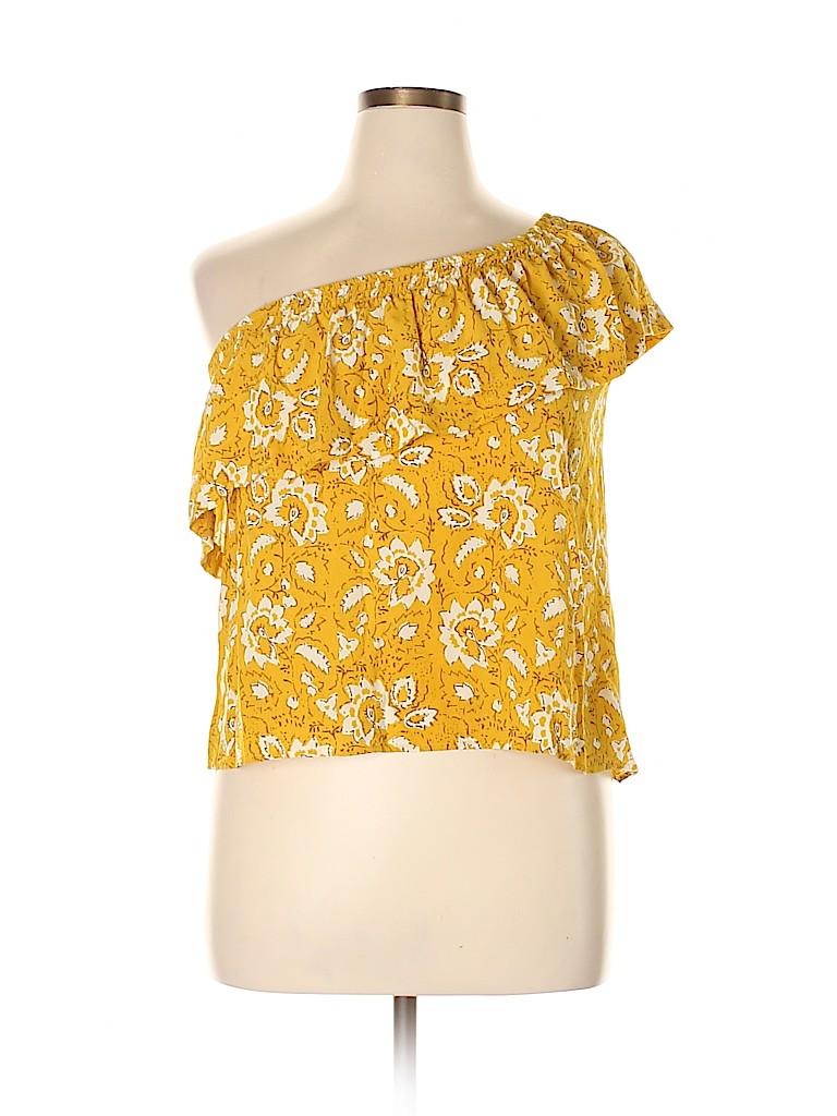 Madewell Women Short Sleeve Silk Top Size L