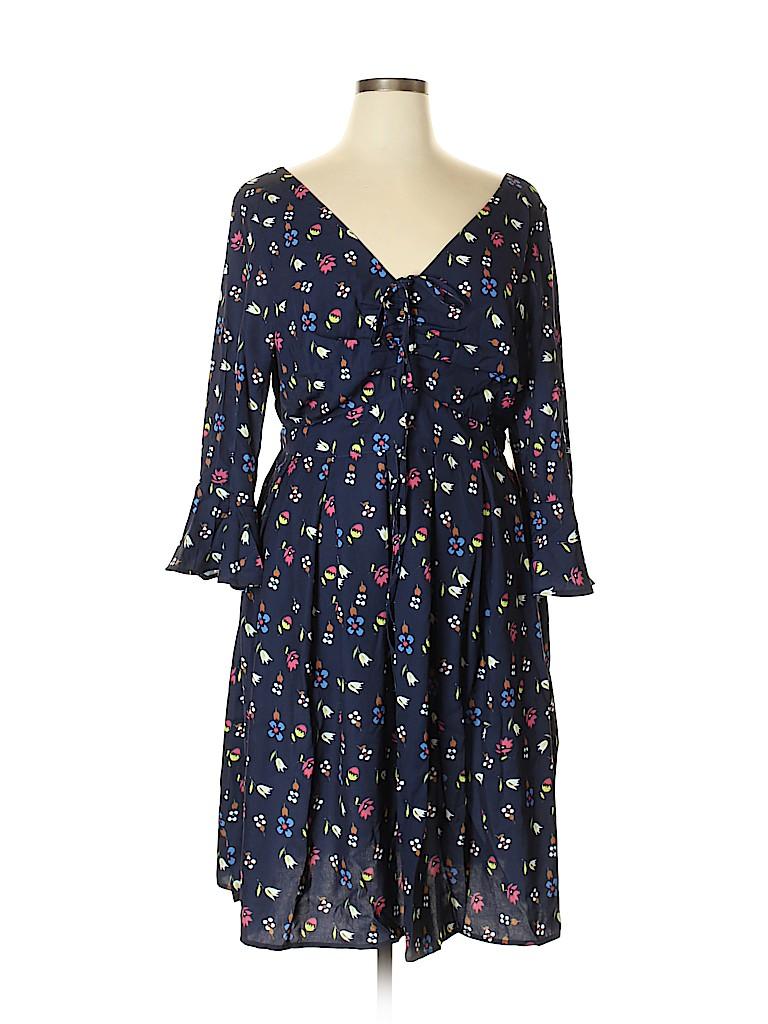 27a8e47f9cb ELOQUII 100% Polyester Print Navy Blue Casual Dress Size 16 (Plus ...