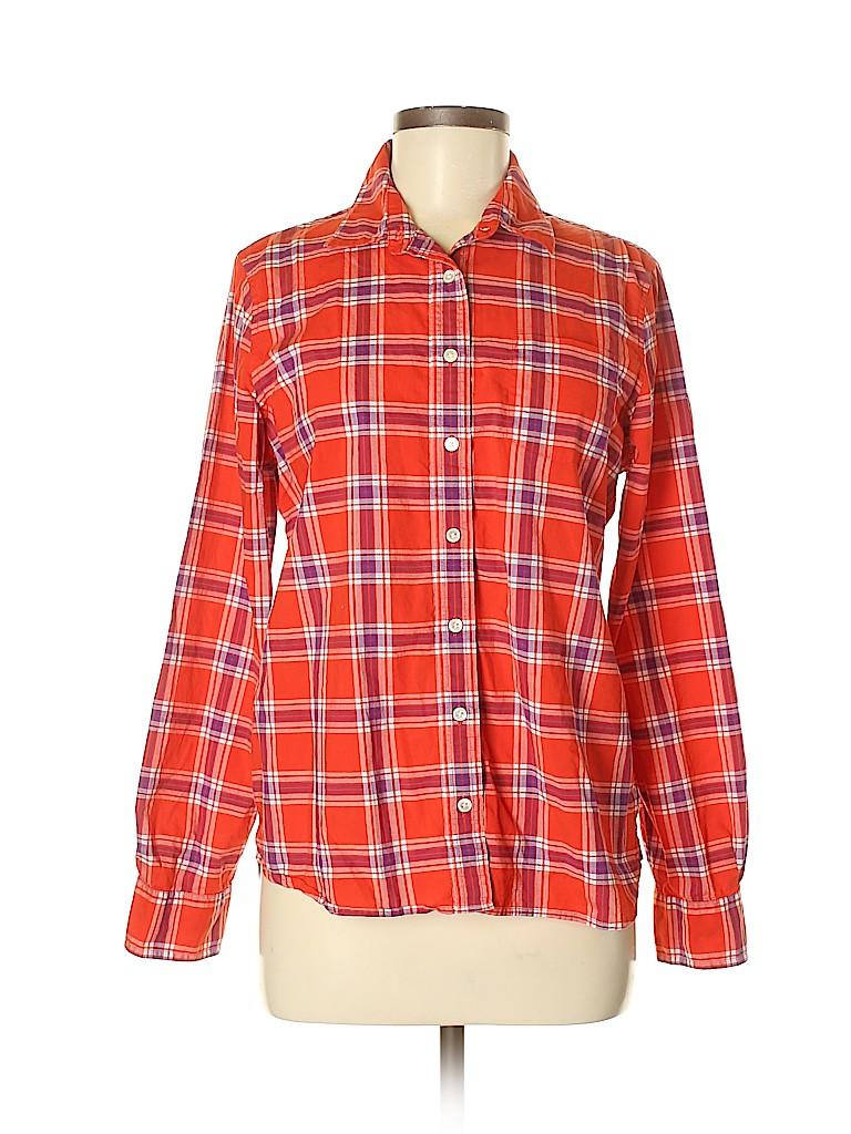 Lands' End Canvas Women Long Sleeve Button-Down Shirt Size M
