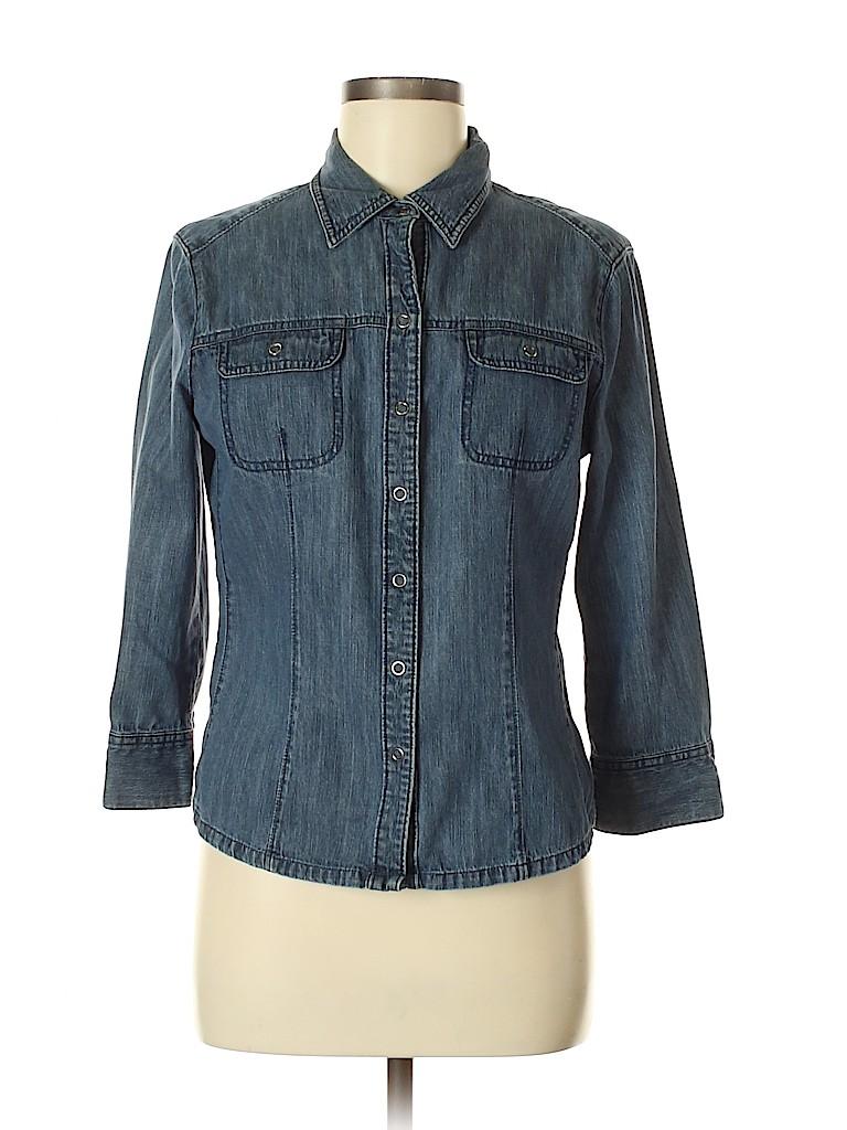 French Cuff Women Long Sleeve Button-Down Shirt Size M