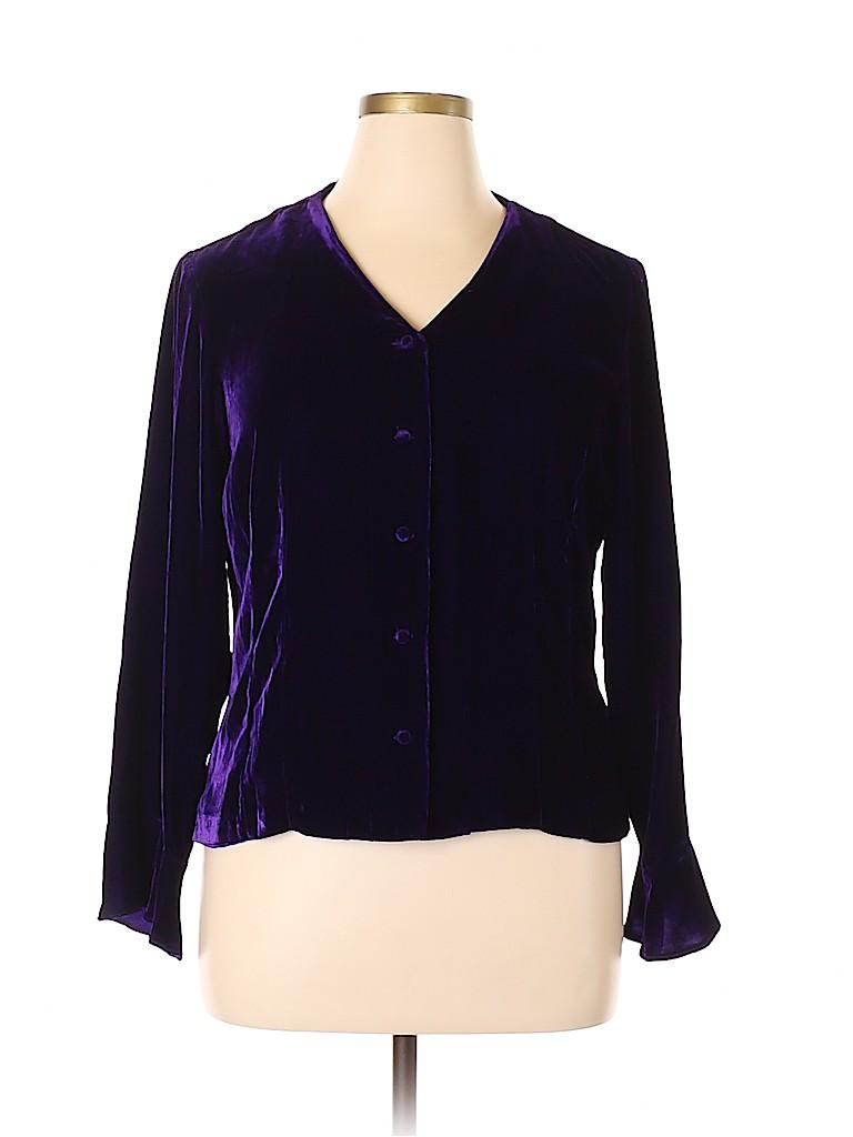 Coldwater Creek Women Long Sleeve Button-Down Shirt Size L
