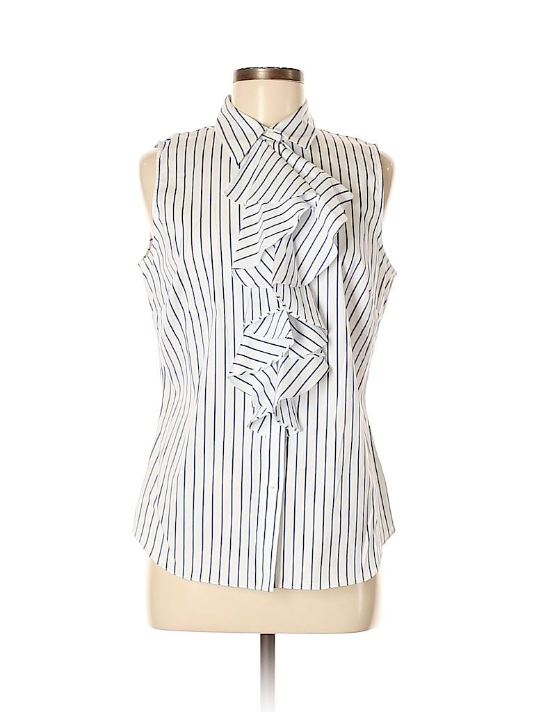 50748c0cafeb00 Lauren by Ralph Lauren 100% Cotton White Sleeveless Blouse Size 8 ...